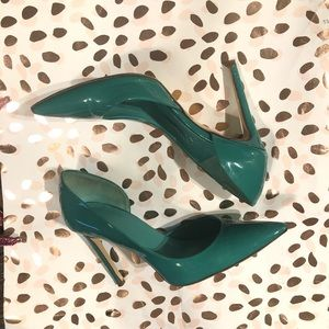 Shoes - Italian Green Patent Leather Pumps Size 7